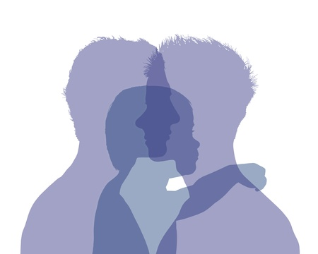superimposed colorful silhouettes of two young men and their little child between them, symbol of homosexual family with a baby Stock Photo