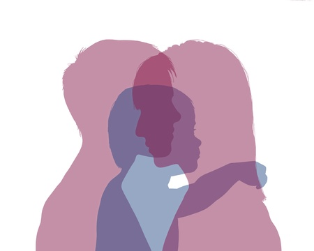 superimposed colorful silhouettes of two young women and their little child between them, symbol of homosexual family with a baby photo