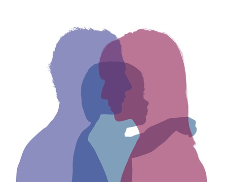 superimposed colorful silhouettes of young parents and their little child between them, symbol of young family