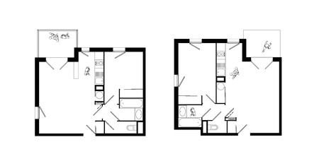 top view of interiors of two small two-rooms apartments with living room, bedroom, kitchen, bathroom, wc and balcony Stock Photo - 20669763