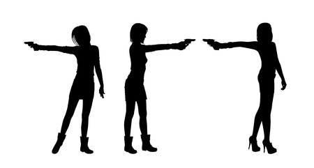 three silhouettes of young beautiful women aiming with a handgun