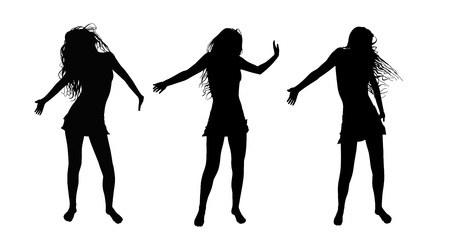 3 black silhouettes of young women dancing with no shoes hair in the wind photo