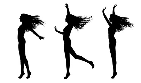 full length silhouettes of a young beautiful naked woman with long hair waving in the wind in different postures, you can dress her as you want