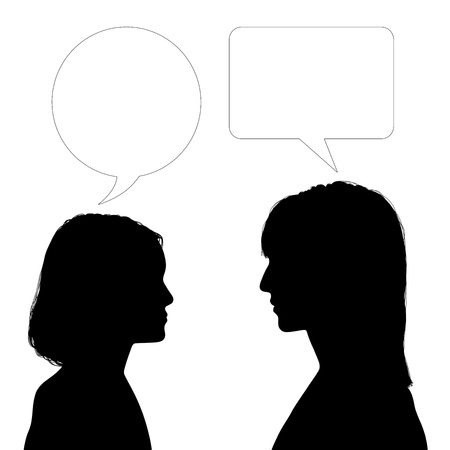 silhouette of profiles of young woman and a teen girl face to face with vacant text bubbles