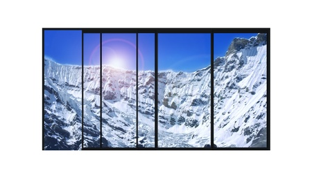 panoramic sky: isolated panoramic 4 parts sliding modern aluminum window  with high mountains covered with snow landscape Stock Photo