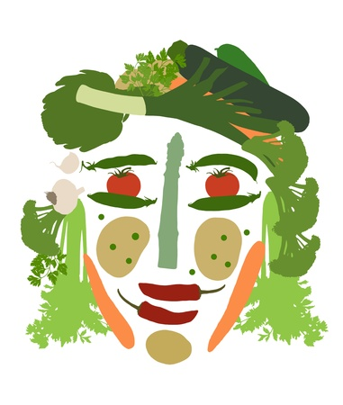 composed: isolated female human face composed of different kinds of vegetables