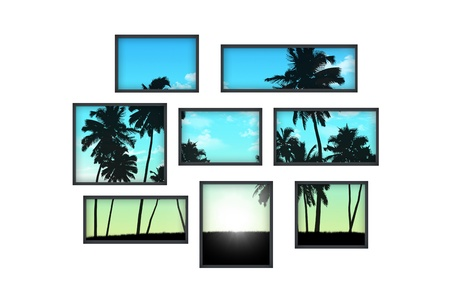 composition of several isolated windows of different size on a white wall with a view on tropical landscape at sunrise photo