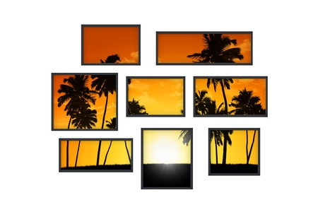 composition of several isolated windows of different size on a white wall with a view on tropical landscape at sunset photo