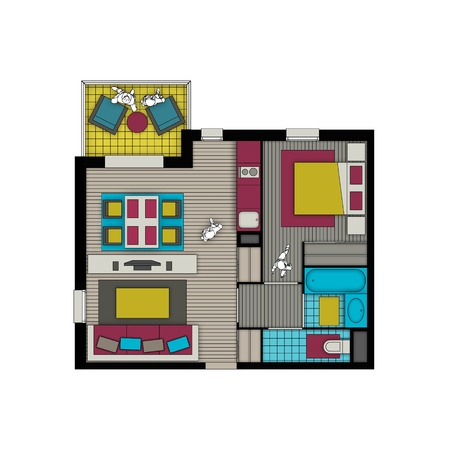 top view of interior of a small two rooms apartment with living room, bedroom, kitchen, bathroom, wc and balcony in pop colors Stock Photo - 21220777