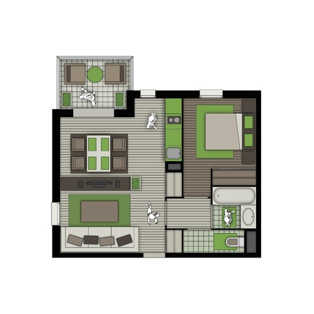 top view of interior of a small two rooms apartment with living room, bedroom, kitchen, bathroom, wc and balcony in natural colors Stock Photo - 21220778