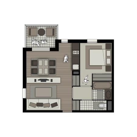 #21220779   Draufsicht Innere Einer Kleinen Zwei Zimmer Wohnung Mit  Wohnzimmer, Schlafzimmer, Küche, Bad, WC Und Balkon In Beige Und Schokolade  Farben