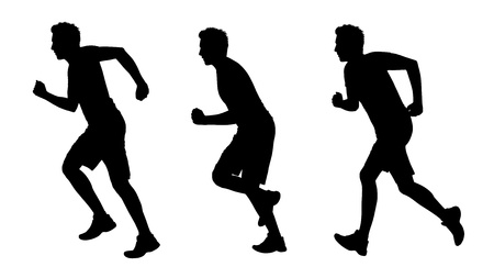 scamper: young white man running silhouettes set 1 Stock Photo