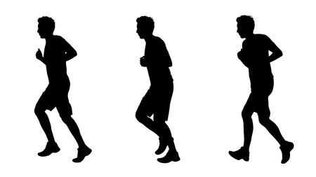 scamper: young white man jogging silhouettes set 1