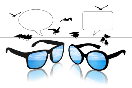 vacant: man s and woman s sun glasses with a reflection of a sea landscape looking on each other, vacant text bubbles above them
