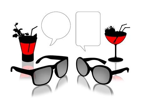 sun s: uomo e donna s s occhiali da sole al bancone del bar a guardare l'altro, il testo vacante bolle sopra di essi Archivio Fotografico