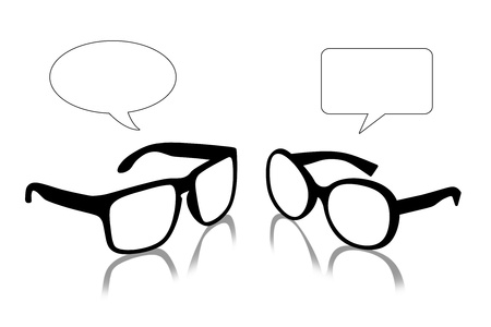 vacant: man s and woman s sun glasses looking on each other, vacant text bubbles above them