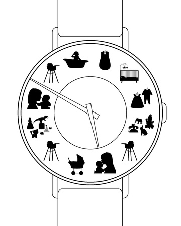 woman s watch with symbols of little baby s daily rhythm of life photo