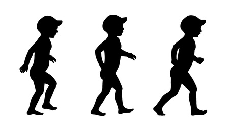 set of three silhouettes of a little boy about 2 years old in cap and swimwear walking photo