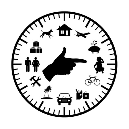 reparations: clock with symbols of family expenses sources all over its face and a hand pointing to chosen ones