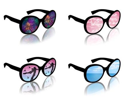 sun s: donna s occhiali da sole con una riflessione di un tipico sogno femminile di amore, i viaggi, le vacanze, la felicit�