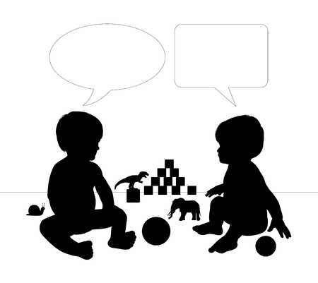 silhouettes of two cute little babies sitting on the floor among their toys talking to each other, vacant text bubbles above them photo