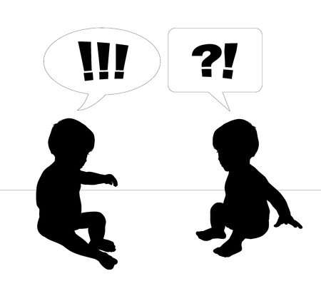 silhouettes of two cute little babies looking on the virtual object between them very surprised with text bubbles above them, scene of babies dialogue photo