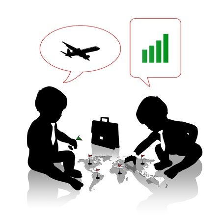 conquering: silhouettes of two cute little babies planning a business travel for conquering new markets