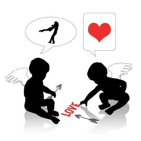 silhouettes of two cute little baby angels, one of them is writing word love, both are thinking about a strategy to make people be happy together photo