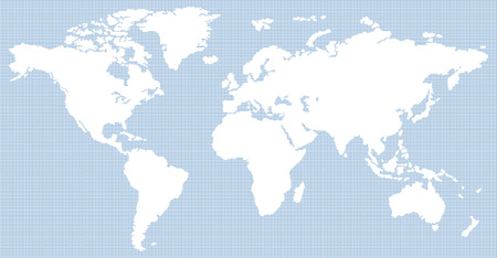 dotted contemporary white and blue world map Stock Photo