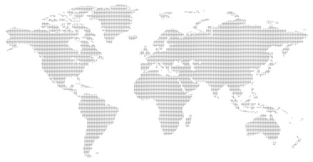 little men pattern contemporary grey world map showing the population of our planet Stock Photo