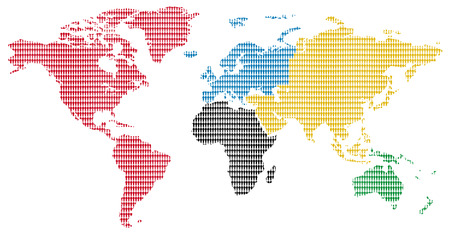 continents sports competition colors little men pattern world map Stock Photo