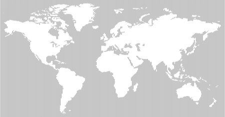 垂直線パターン現代的な黒と白の世界地図 写真素材