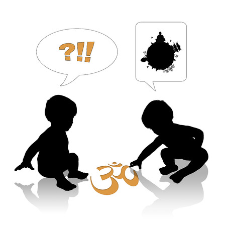 silhouettes of two cute little babies, one of them is drawing an OM symbol explaining its meaning to the other Stock Photo - 22975736