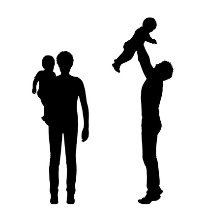 set of two silhouettes of young father and his little baby in his arms and making a plane Stock Photo