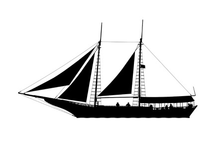 barque: silhouette profile view of a pirate ship with pirates on board sailing on the sea with sails raised