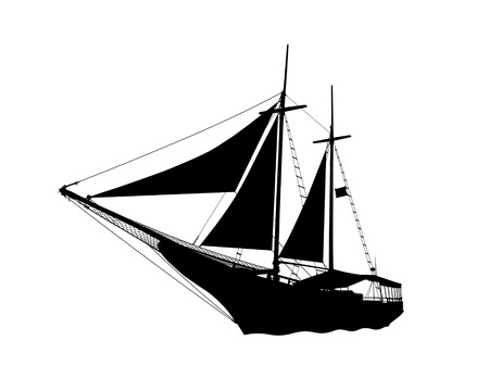 barque: black silhouette side view of a pirate ship sailing on the sea with sails raised