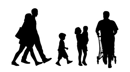 caddy: black silhouettes of a young couple, several children and a man with a caddy walking in the street Stock Photo