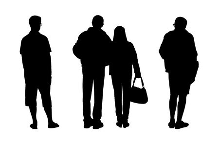 black silhouettes of a two men with glasses and a middle age couple standing outdoor