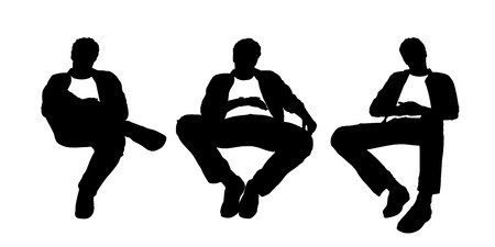 relaxed: black and white silhouettes of a young handsome relaxed man seated in a lounge chair in different postures