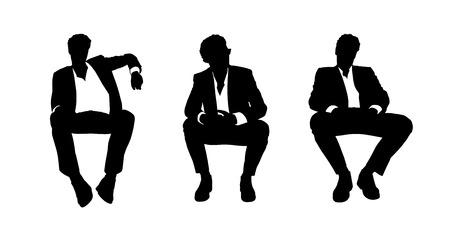 異なる姿勢でのラウンジチェアに座っている若いハンサムなビジネスマンの黒と白のシルエット