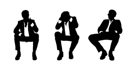 black and white silhouettes of a young handsome businessman seated in a lounge chair in different postures stressed, thinking and relaxed Banque d'images