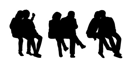 seated: black silhouettes of three couples of different age seated outside together in various postures