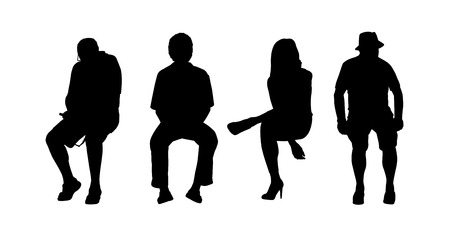 black silhouettes of people of different sex and age seated outside in various postures Banque d'images