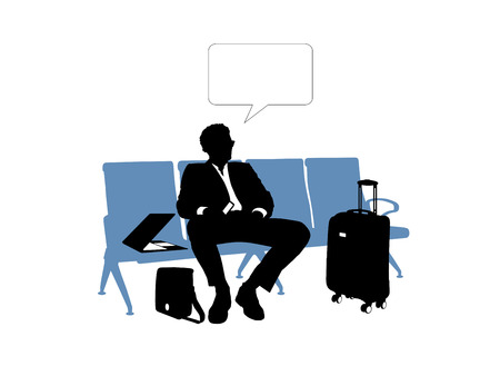 seated: black and white silhouette of a young handsome businessman seated in the lounge area of an airport waiting for his flight, a vacant text bubble above him