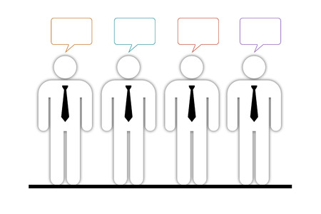 vacant: four little businessmen of the same team with vacant text bubbles of different colors above them, each of them has his own opinion Stock Photo