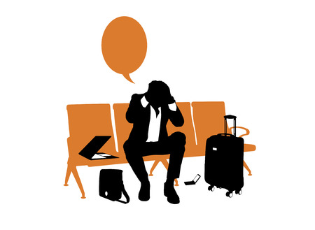 black and white silhouette of a young businessman under pressure seated in the lounge area of an airport waiting for his flight, a vacant text bubble above him photo