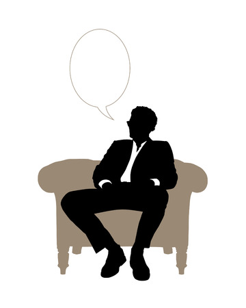 black and white silhouette of a young handsome businessman seated in beige classical armchair speaking about his business, a vacant text bubble above him Banque d'images
