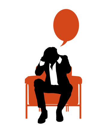 vacant: black and white silhouette of a young businessman seated in a red lounge chair very stressed thinking about his business, a vacant red text bubble above him Stock Photo