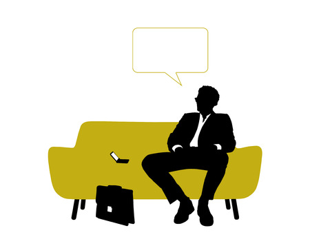 vacant: black and white silhouette of a young handsome businessman seated on yellow sofa having rest and thinking about his business, a vacant text bubble above him