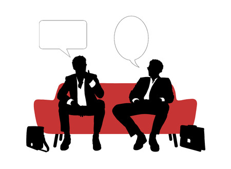 black and white silhouettes of two young handsome businessmen seated on red sofa having rest and speaking about their business, a vacant text bubbles above them photo